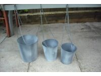 Hanging metal planters with chain (3 sets of 3)