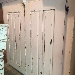 ANTIQUE PINE ARMOIRE- WHITE DISTRESSED pine wood