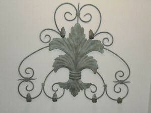 Antiqued Sage Green Metal 6 Hook Wall Mount Towel Robe Caddy