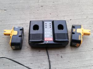 Ryobi dual battery Ni-cad charger & two ONE+ 18v batteries