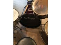 Stagg drum kit including seat and drum sticks