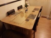 Oak Veneer Extendable Table & Black Faux Leather 4 Chairs