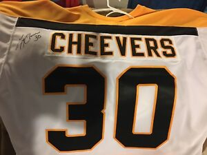 Signed Cheevers Boston Bruins NHL jersey