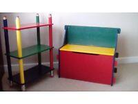 Pencil Design Shelf unit & storage seat bench for kids bedroom or playroom