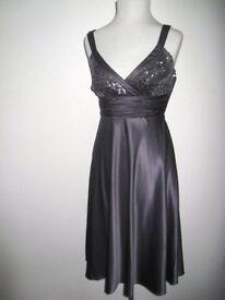 Stunning DEBUT Debenhams Silver Grey Evening Satin Dress with Sequins 6-8UK NEW