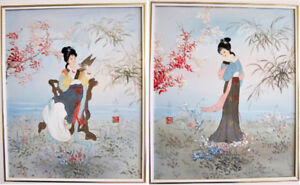 PAIR OF FRAMED SIGNED ORIGINAL ASIAN PAINTINGS ON CANVAS