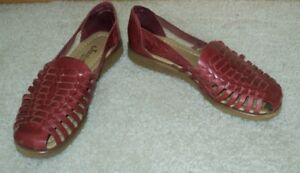 New Brown All Leather Ladies Huarache  Sandals   Size 5 M