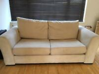Cream Suede Faux Large Sofa - Free Delivery