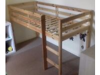 Pine wood mid-sleeper single bed frame