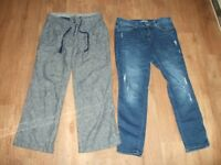 2 Pairs of Ladies TU Jeans & Trousers Size 12 Short