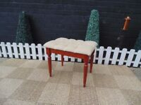 BEAUTIFUL CREAM VELVET DRESSING TABLE STOOL WITH SOLID PINE LEGS
