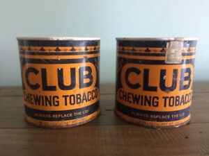 2 Vintage 1950's small club chewing tobacco tins only $5 each