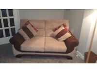 2X 2.5 seater sofas and matching foot stool with storage