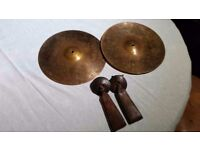 Genuine Pair of Avedis Zildjian 13'' Marching band Cymbals with Meinl handles.