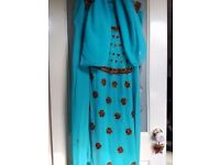 Handmade turquoise Ladies Indian Outfit. Will fit size 10 - 12. VGC