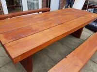 TREATED WOODEN TABLE WITH SEATS