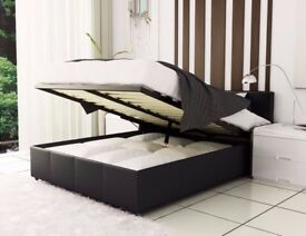 **FAS DELIVERY** SINGLE SMALL/DOUBLE KING LEATHER STORAGE OTTOMAN GAS LIFT UP BED FRAME ND MATTRESS