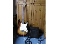 Rockburn strat style electric guitar and practice amp