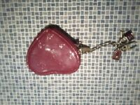 louis vuitton womans heart shaped coin purse red