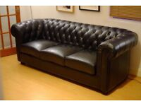 4 seater black leather Chesterfield sofa in excellent condition