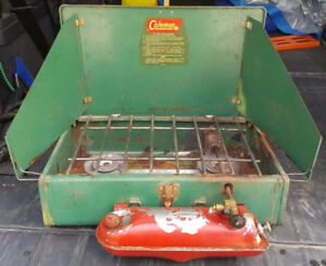 RP2429 Vtg U.S.A. Coleman Model 425E 2 Two Burner Camp Stove
