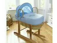 Kinder valley my little rocker blue moses basket. With free opal Folding stand. Brand new.