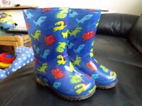 Kids Blue Dinosaur Wellington Boots - Size 5