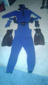 Wet suit and accessories complete with fins