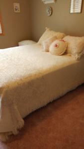Crocheted bedspread, shams and throw pillows