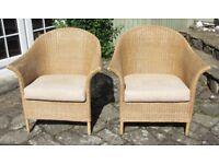 Two quality wicker conservatory chairs from J Burdekin