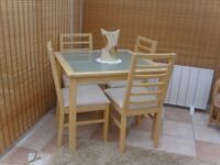 Glass Top Dining Table and 4 Chairs