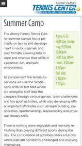 Abony tennis center summer camp