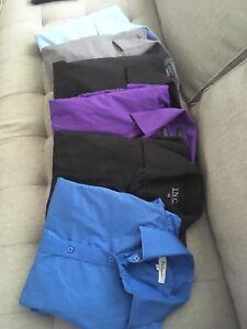 6 belles chemises médiums unies 20$ le lot
