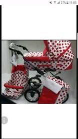 Red polka dot pram set