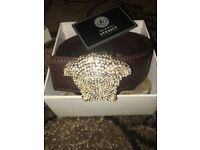 Versace Belt Medusa Head Brown Belt with Gold Iced out head Diamonds Everywhere