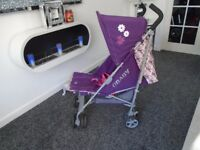 Almost new Obaby little cutie lie flat buggy with raincover