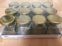 12 new square glass jars 200ml