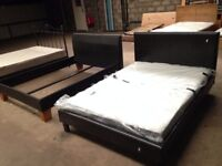 Black Leather Double Bed & Mattress