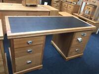 Oak leather topped desk ( new )