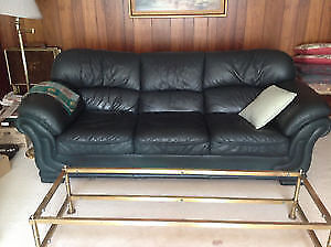 Couch Dark Green Leather