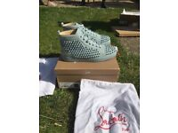 Louboutin blue horizon suede sneakers. 100% authentic, brand new, size 41
