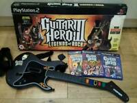 PS2 Guitar Hero 3 wireless controller and 3 games