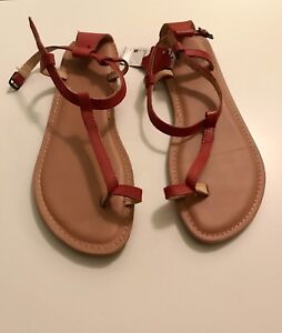 Leather Size 9 Red Sandals New With Tags!