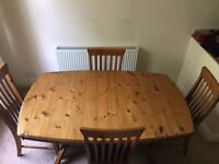 Ducal Antique Extending Pine Dining Table and Six Chairs