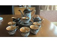 Coffee set Chinese style 6 cups/saucer etc.