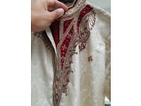 Cream Embroidered Sherwani with Trousers