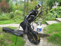 Full set of quality used golf clubs (Ping, Cobra etc) plus bags, trolley, balls and extras