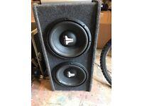"X2 12"" JL AUDIO SUBWOOFERS AND JL AUDIO AMP JX360"