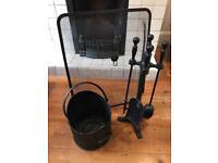 Fireplace guard, 4 piece tools set & wood/coal storage bucket