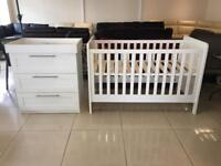 Brand new Mamas and Papas Cot Bed and Chest of drawers with changer top